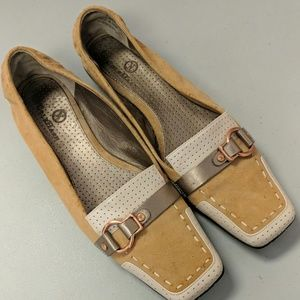 Cole Haan Tan & Cream Suede Loafers Size 7.5